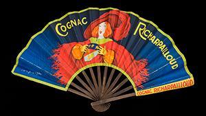 A folding fan advertising Cognac Richarpailloud, French, c.1930