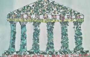 A drawing of a greek temple covered with craft materials