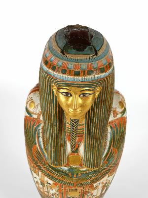 Cartonnage mummy case of Nakhtefmut in the collections of the Fitzwilliam Museum, Cambridge