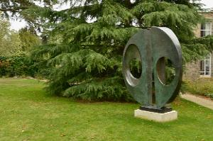 Barbara Hepworth, Two Forms (Divided Circle), 1969 (BH 477).  Bronze, 2370 x 2340 x 543 mm. On loan from the Hepworth Estate to Downing College, Cambridge.  Barbara Hepworth © Bowness Photo: Perry Hastings