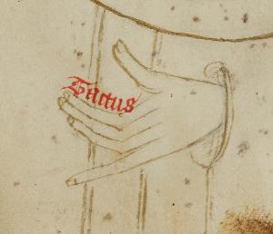 Medieval Touch the fifth sense inscribed on parchment