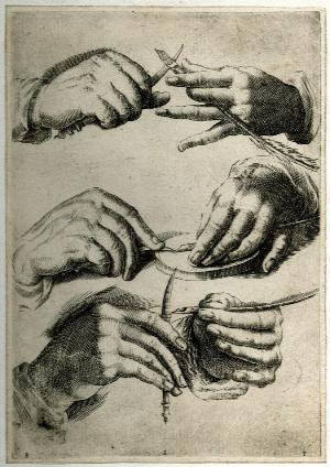 Study of hands sharpening a pen (c.1600) by Agostino Carracci