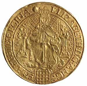 Gold sovereign of Queen Elizabeth I (1558-1603) struck at the Tower of London 1584-7