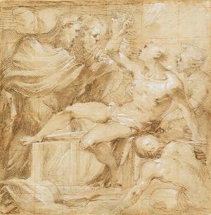 Valerio Castello (1624-59), The Martyrdom of Saint Lawrence, pen and brown ink and brown wash, heightened with white, over an underdrawing in black chalk, squared in red chalk